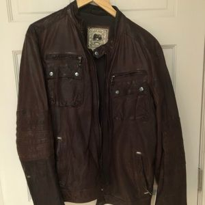 Brown leather jacket with band collar